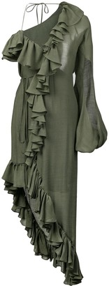 Juan Carlos Obando asymmetric ruffled dress