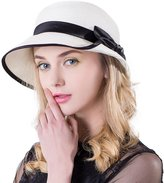 Siggi Floppy Summer Sun Beach Panama Straw Hats for Women SPF Crushable Bucket Cloche Hat 56-59cm White
