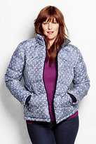 Classic Women's Plus Size Down Jacket-Silver Frost Floral