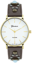 Geneva Platinum Brown & Gold Studded Watch