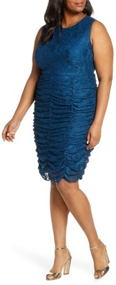 Brinker & Eliza Ruched Lace Bodycon Dress (Plus Size)