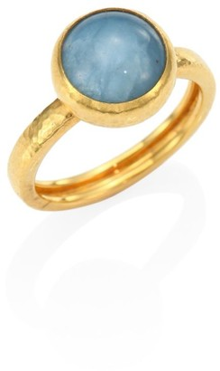 Gurhan Amulet Hue Aquamarine & 22-24K Yellow Gold Ring