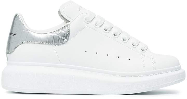 Alexander McQueen White and Silver Leather Oversized Sneakers