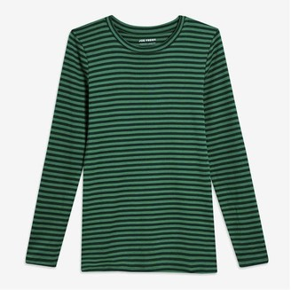 Joe Fresh Women's Essential Stripe Tee, Dark Green (Size XS)