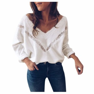 YiMiny Sweater Women Jumper Pullover Fashion Winter Long Sleeve V Neck Lace Slim Loose Blouse Tops White