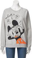 "Disney Disney's Juniors' Mickey Mouse ""What"" Graphic Fleece Sweatshirt"