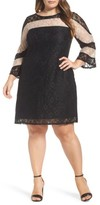 Gabby Skye Plus Size Women's Stripe Colorblock Lace Dress