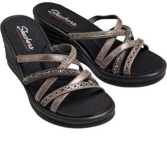 Skechers Womens Rumbler Wave New Lassie Multi Strap Memory Foam Wedge Sandals Pewter