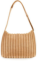 Paco Rabanne Grommetted Leather Hobo Bag, Neutral