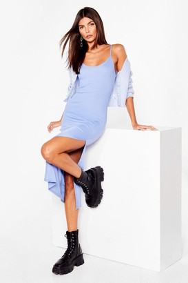 Nasty Gal Womens I Know the Scoop Ribbed Midi Dress - Denim-Blue
