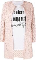 Caban Romantic - flower patch coat - women - Cotton/Leather/Polyamide - 44