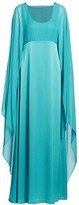 St. John Liquid Satin Cape-Sleeve Dress