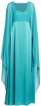 St. John Liquid Satin Cape-Sleeve Dress