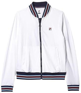 Fila Heritage Tennis Jacket (White/Navy/Chinese Red) Women's Clothing