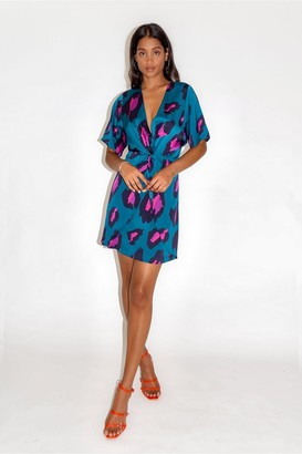 Liquorish Petrol Blue Mini Knotted Dress with Ombre Leopard Print