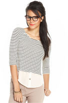 Maison Jules Top, Long-Sleeve Striped Scoop-Neck