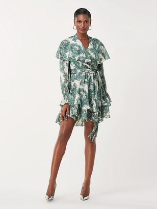 Diane von Furstenberg Simone Metallic Silk Mini Wrap Dress