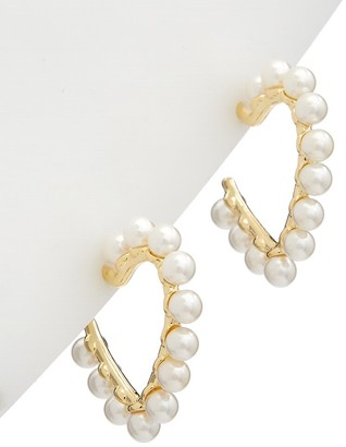 Alanna Bess Limited Collection 14K Over Silver 2Mm Pearl Heart Hoops