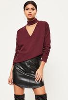 Missguided Burgundy Choker Neck Sweatshirt
