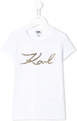 Karl Lagerfeld Paris signature-print T-shirt