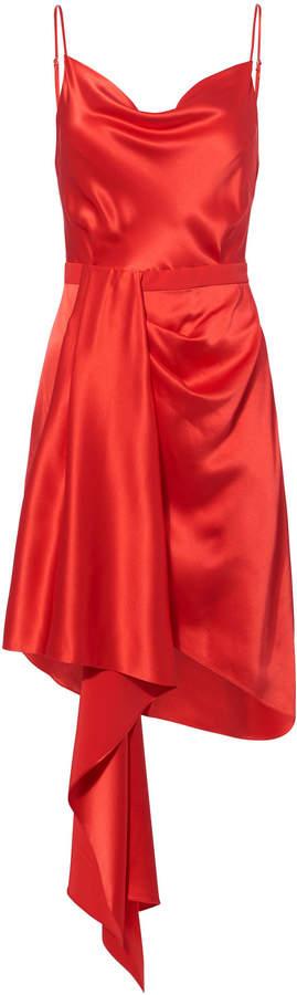 Fleur Du Mal Cascade Red Satin Dress