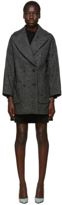 RED Valentino Black and Grey Wool Oversized Chevron Coat