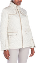 Vince Camuto Faux Suede Trim Quilted Anorak