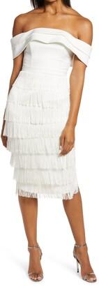 Lavish Alice Off the Shoulder Fringe Midi Dress