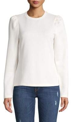 Hudson June And Puffed-Sleeve Ribbed Top