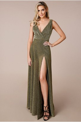 Goddiva Stephanie Pratt Gold Cross-Over Sleeveless Maxi Dress