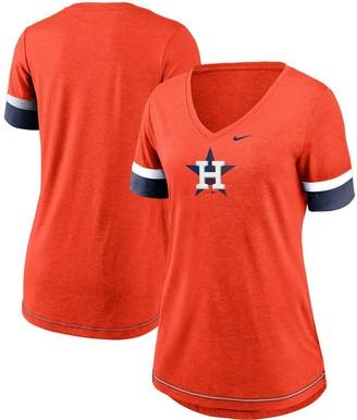 Nike Women's Orange Houston Astros Mesh Logo Fashion Performance V-Neck T-Shirt