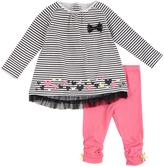 Petit Lem Black Stripe Tunic & Pink Bow Leggings - Infant