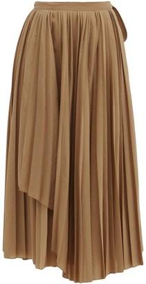 Sara Lanzi Pleated Wool-blend Wrap Skirt - Dark Beige
