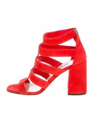 Prada Suede Cutout Accent Gladiator Sandals Orange