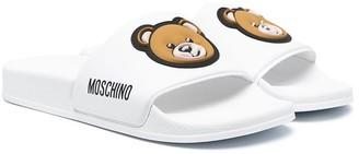 MOSCHINO BAMBINO TEEN teddy bear-print slides