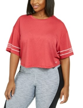 Nike Plus Size Logo-Sleeve Dri-fit Cropped T-Shirt