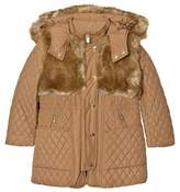 Chloé Tan Longline Quilted Coat with Faux Fur Trim