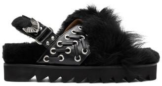 Toga Pulla Black Faux-Fur Flat Sandals