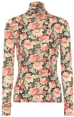 Paco Rabanne Floral stretch-jersey turtleneck top