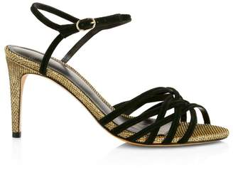 Alexandre Birman Berthe Metallic & Leather Strappy Heels