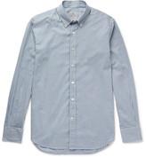 Canali Button-down Collar Gingham Cotton Shirt - Blue