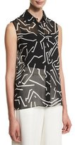 Alexander Wang Graphite Sleeveless Button-Front Blouse, Black/White