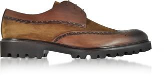 Fratelli Borgioli Walnut Leather and Suede Oxford Shoes