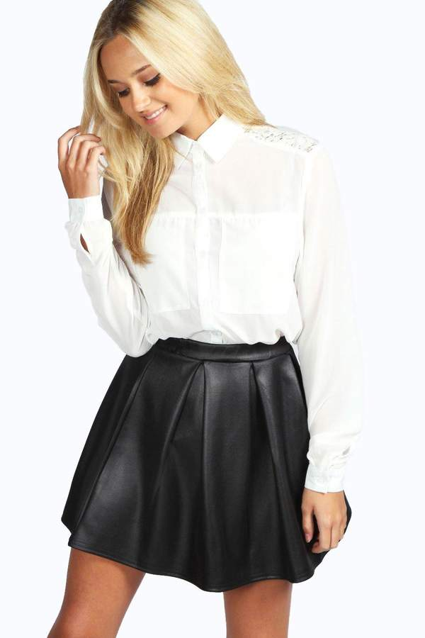 boohoo Long Sleeve Lace Panel Shirt