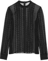 Elizabeth and James Sophia Lace-trimmed Silk-georgette Blouse - Black