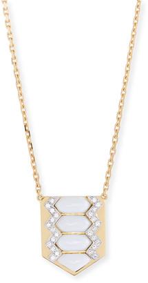 David Webb Motif Diamond & White Enamel Shield Necklace