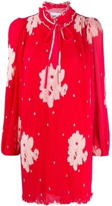 Ganni Pleated Floral Print Dress