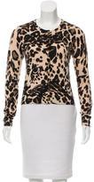 Diane von Furstenberg Leopard Print Crew Neck Cardigan