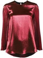 Christopher Kane pleated long sleeve metallic top