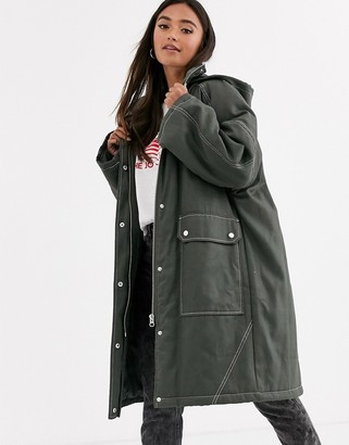 Asos DESIGN coated parka with contrast stitch detail in khaki